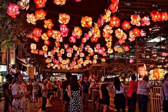 During Mid-autumn celebrations local streets are the best free place to visit in Singapore