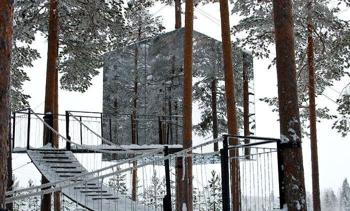 The reflective rooms at Mirror Cube Tree House Hotel in Sweden