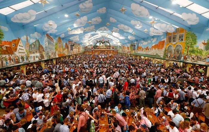 A crowded view of one of the big tents in Oktoberfest