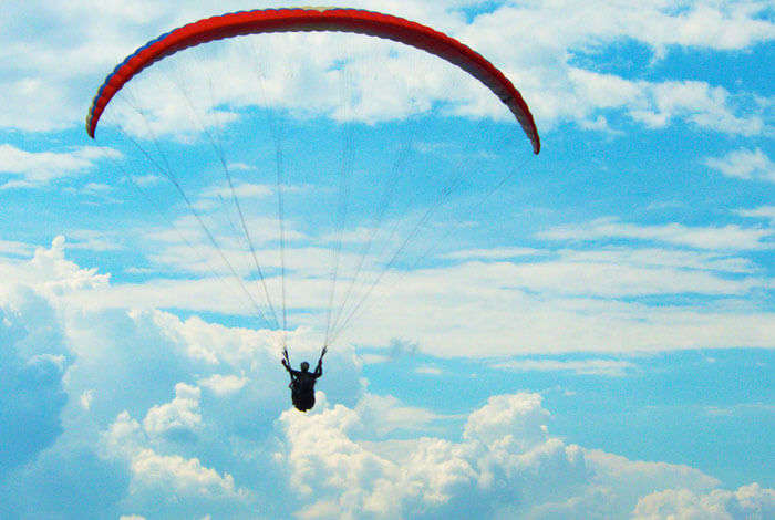 A flyer while paragliding in Bangalore