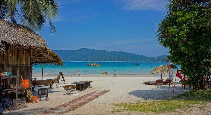 The regular beach scene at Perhentian Island – a famous tourist place in Malaysia