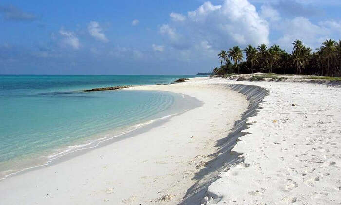 View of the pristine white beaches at Agatti Island in Lakshadweep