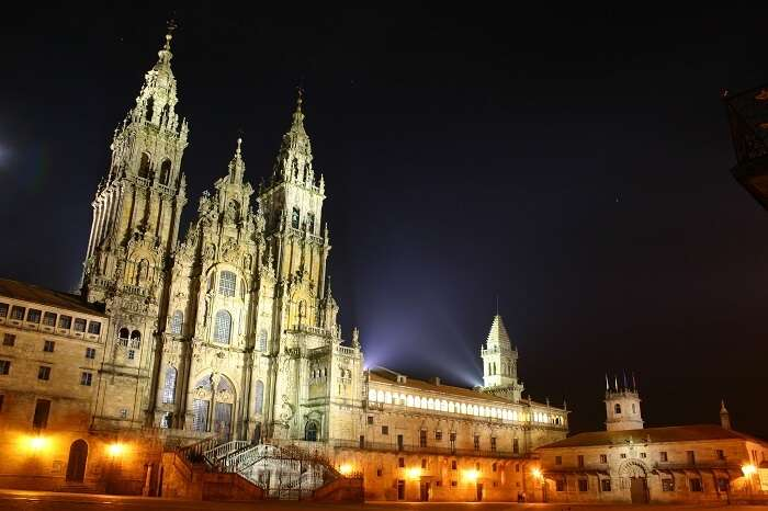 A night view of one the best tourist places in Spain - Santiago De Compostela Cathedral
