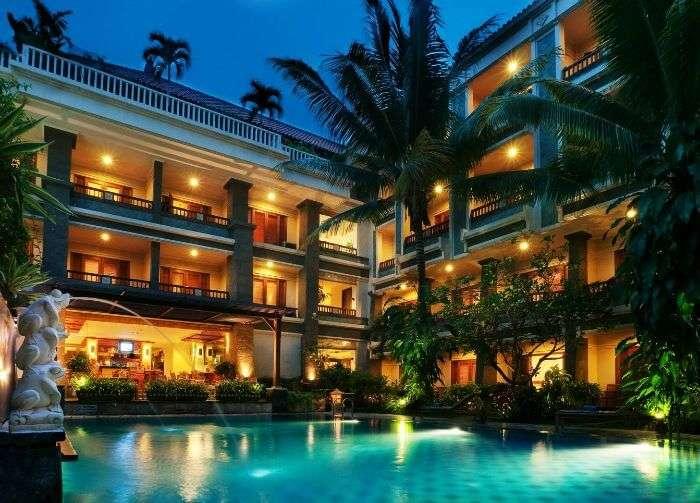 A night view of the The Vira Bali Hotel, Kuta