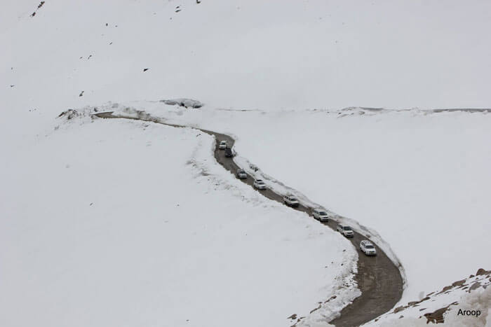 Vehicles crossing through the highest motorable road