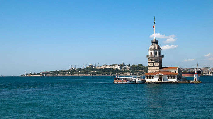 Deep blue waters of the True Blue Beach in Istanbul