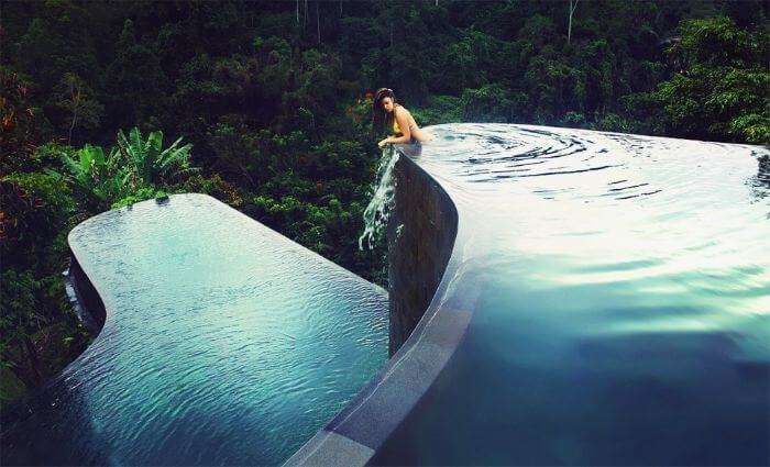 The infinity pool at Udub Hanging Garden Hotel in Bali
