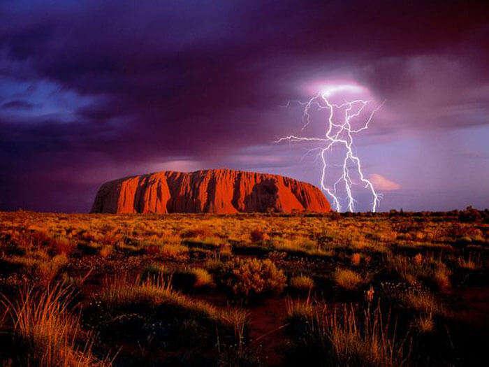 Lightening at Uluru Monolith
