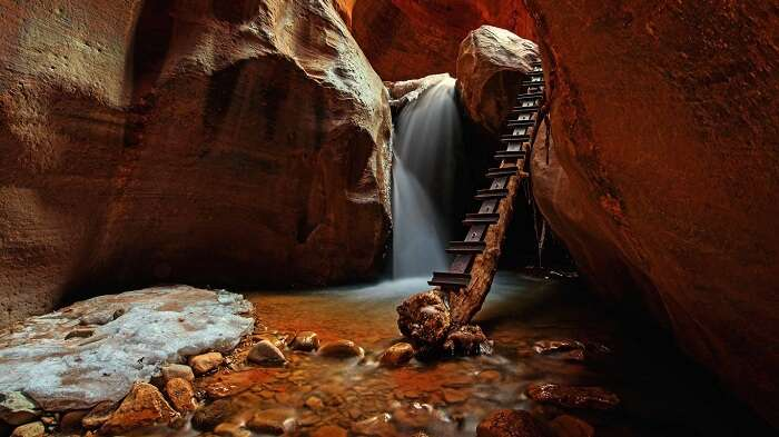 Mystical view of the Upper Kanarra Falls in Utah