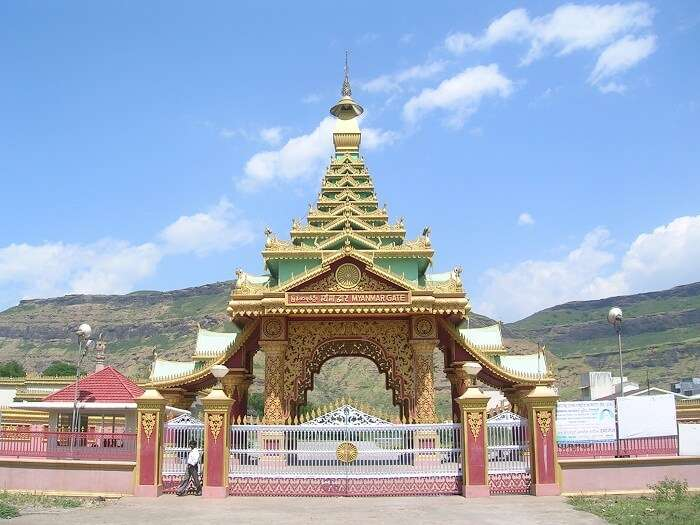 View of Myanmar Gate at Dhamma Giri in Igatpuri