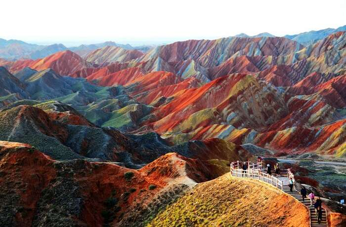 A view of the colored mountains at Zhagye Danxia