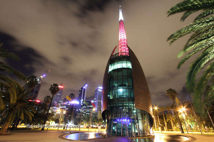 A night view of the Bell Tower that overlooks other Perth tourist attractions