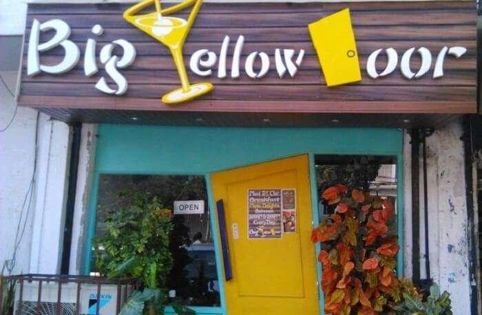 The Entrance to the popular Big Yellow Door café at Vijay Nagar