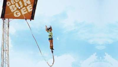 A girl trying bungee jumping in Pune - Mumbai precincts