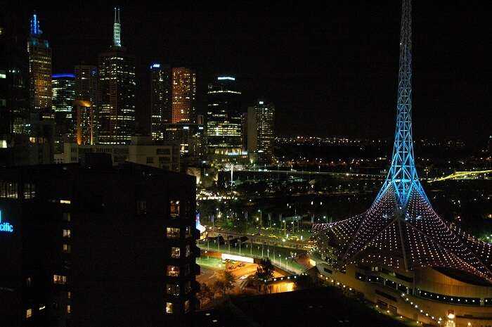 An illuminated South Bank and Arts Centre, Melbourne