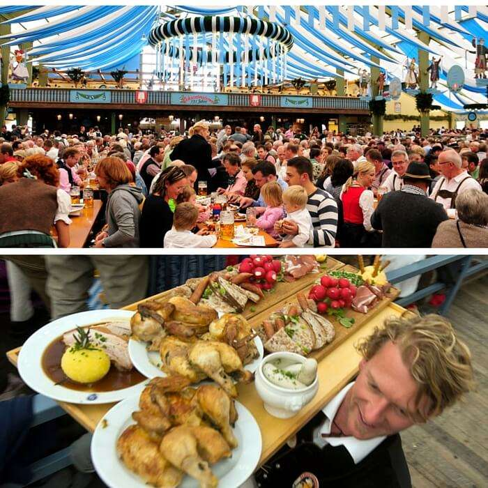 Many families come for lunch to one of the big tents at Oktoberfest.