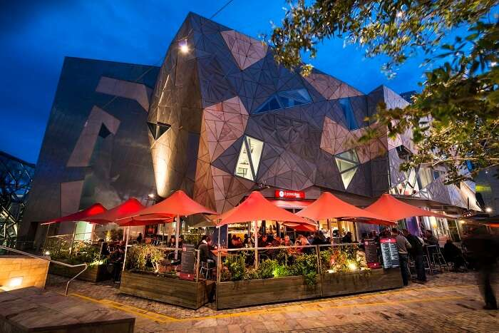 An Illuminated Federation square at night is definitely one of the best tourist attractions in Melbourne