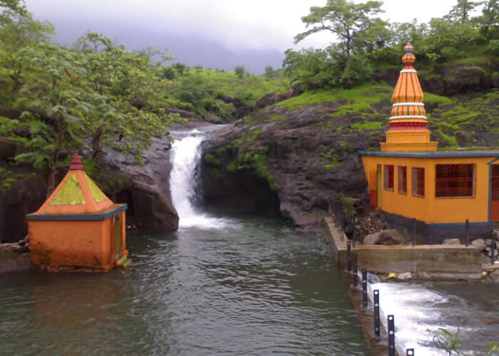 The scenic waterfall and Kondeshwar temple in Kamshet