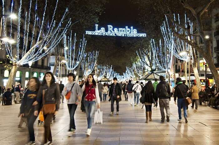 La Rambla in Barcelona is one of the most frequently visited tourist attractions in Spain