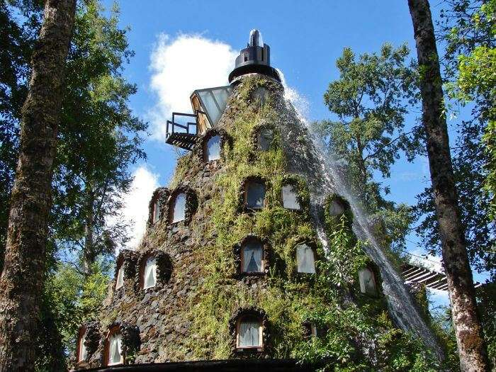 The Montaña Mágica Lodge in Chile covered in flora