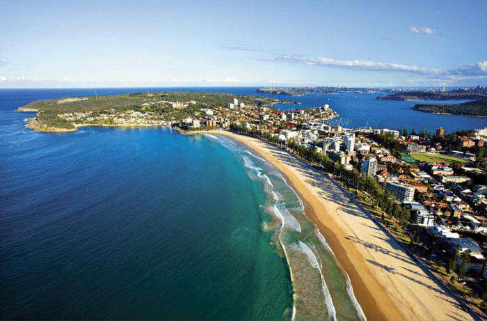 Bird eye view of the Manly Beach