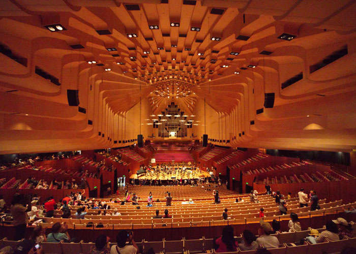 A view of a concert hall inside the Sydney Opera House