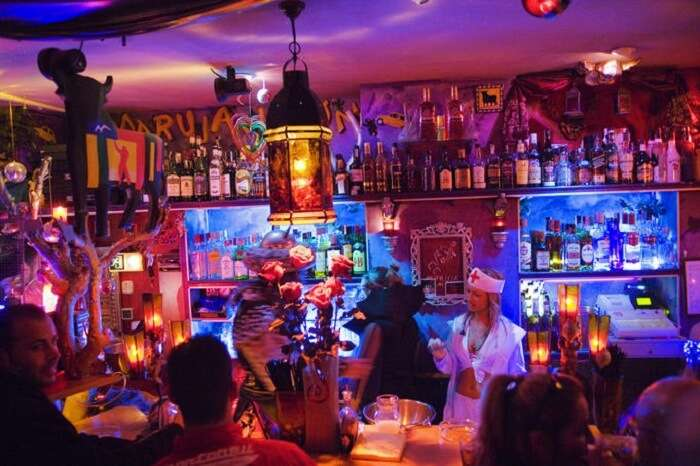Carmen Bar-a glitzy bar-is a part of the pub crawl in Barcelona