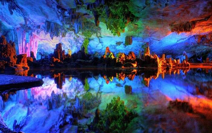 Psychedelic imagery of the Reed Flute Cave in China