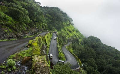 The final stretch of road to Matheran that allows automobiles