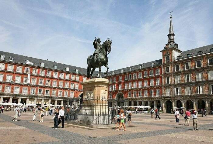 Statue of King Philip's III at Plaza Mayor in Madrid