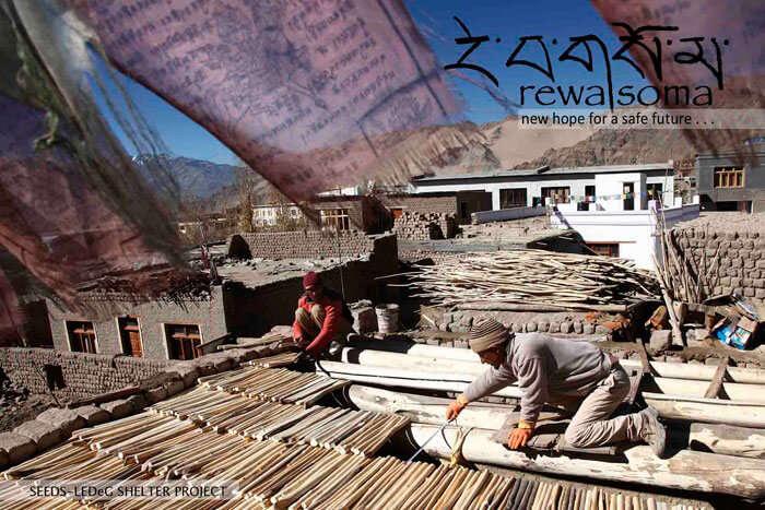 Ladakhis building a house
