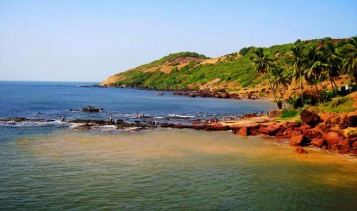 Anjuna Beach– One of the famous beaches in Goa for its unique rock formations