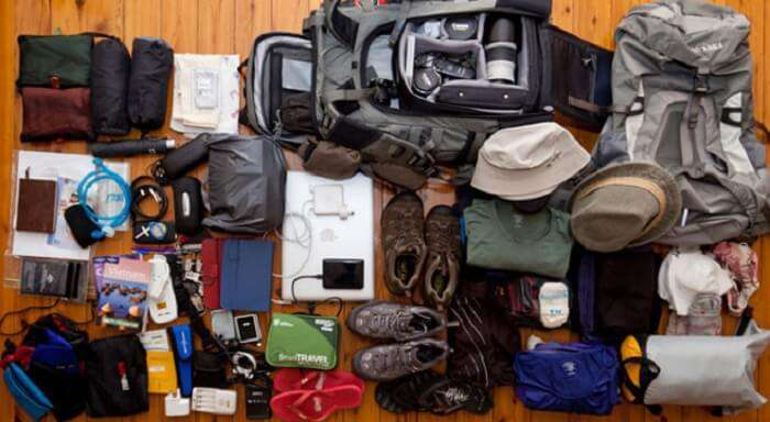 Inside a backpacker's bag