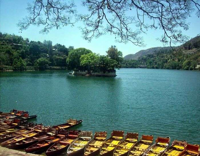 Row of boats at Bhimtal Lake in Uttarakhand