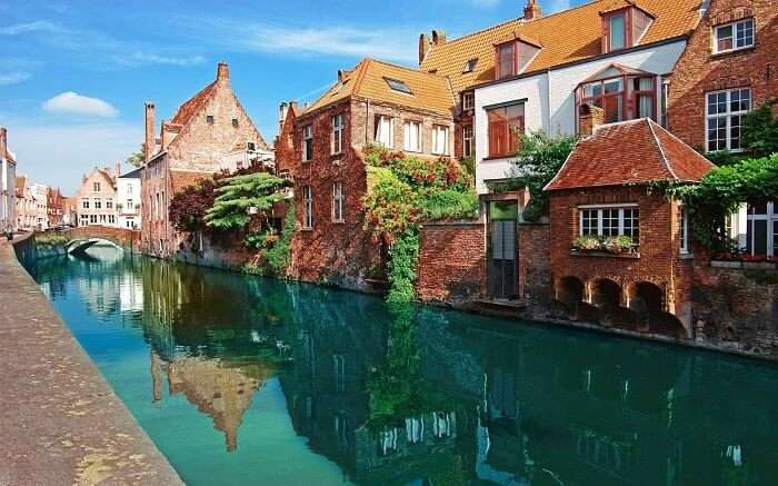 The aqua water canal of Bruges in Belgium