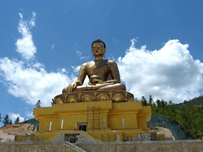 The imposing beauty of Buddha Dordenma in Bhutan during autumn season