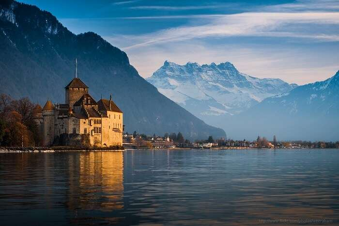 The beautiful architecture of Chateau de Chillon is a must for switzerland sightseeing