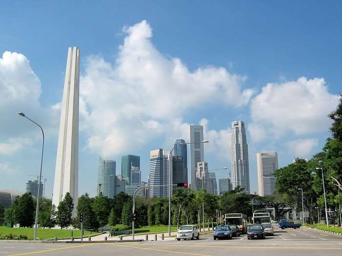 The skyline with 4 pillars of Civilian War Memorial is among historical places in Singapore depicting the deceased