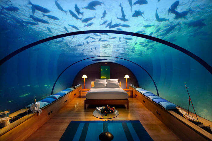 Beautiful dining in the ocean in the underwater hotel in Maldives
