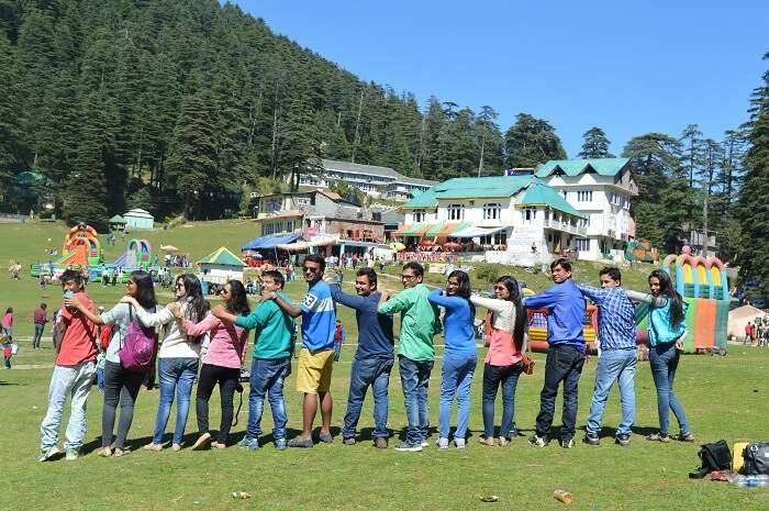 Shivani and friends posing in Khajjiar
