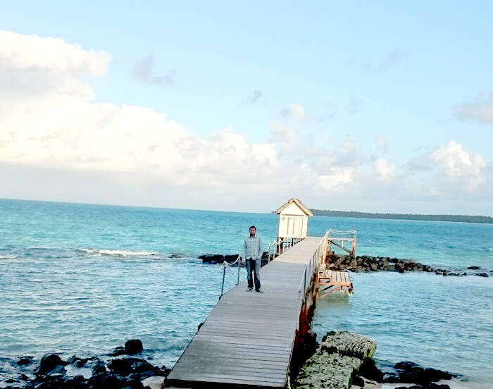 Harshvardhan enjoying the beauty of the serene blue sea at Ile Aux Cerfs
