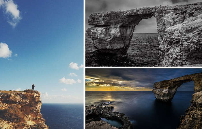 The high arch of Gozo Cliffs at Malta
