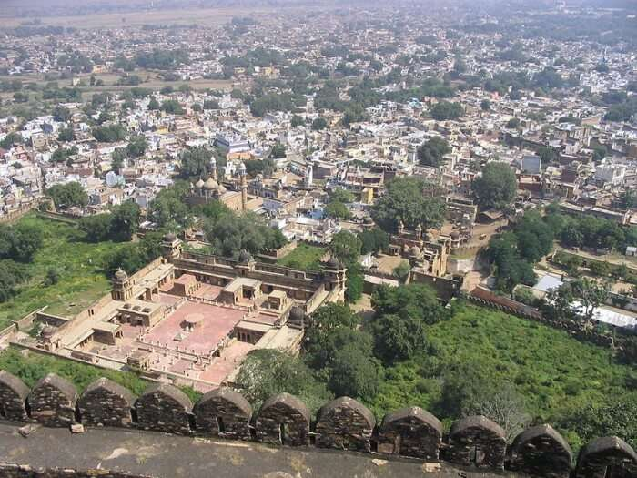 The aerial view of the city of Gwalior