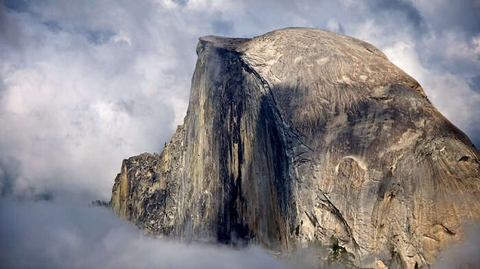 A view of the Half Dome Yosemite above the clouds