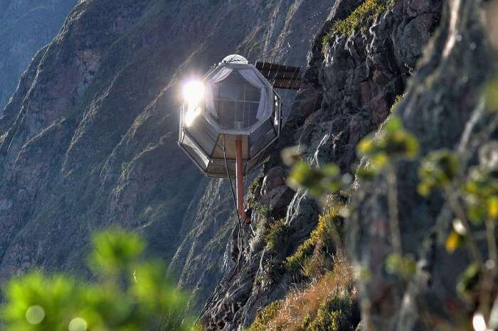 Hanging sky lodge at a height of 400 feet at Peru