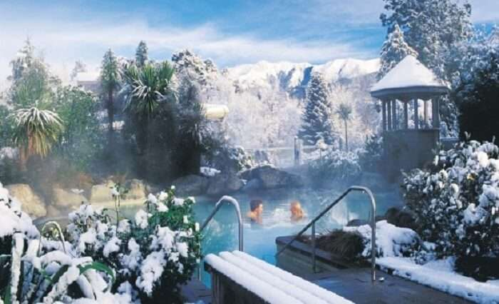 The natural hot water pool at Hanmer Springs