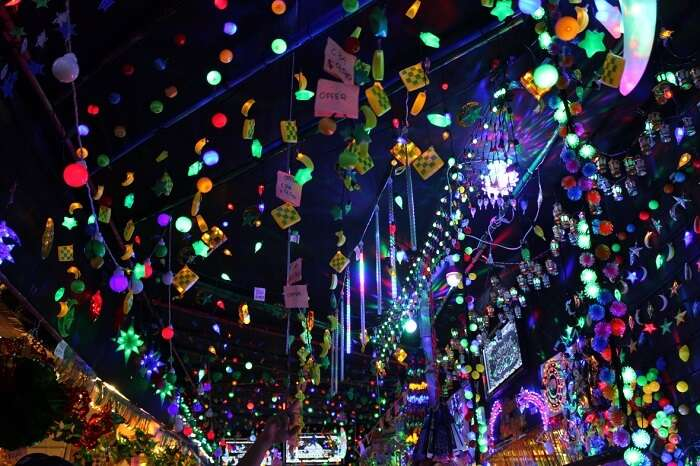 A decorated street during the Hari Raya celebrations in Singapore
