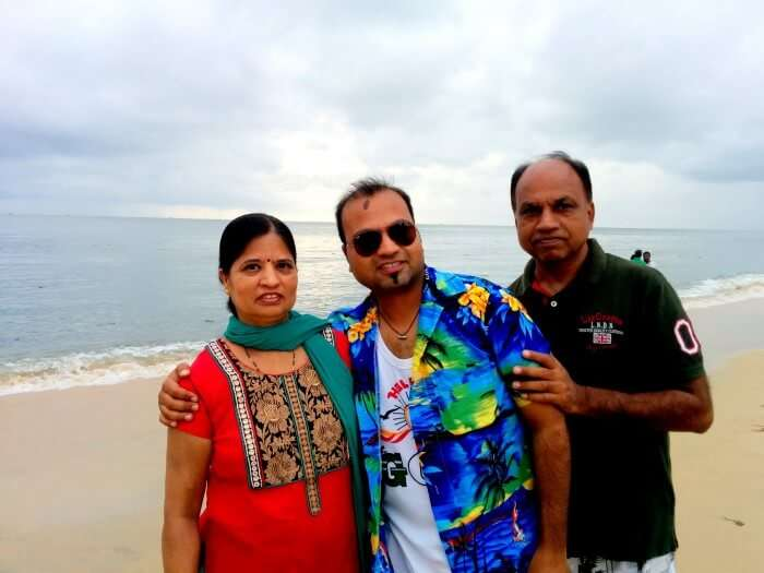 Rahul with his parents relaxing at the Alleppey Beach