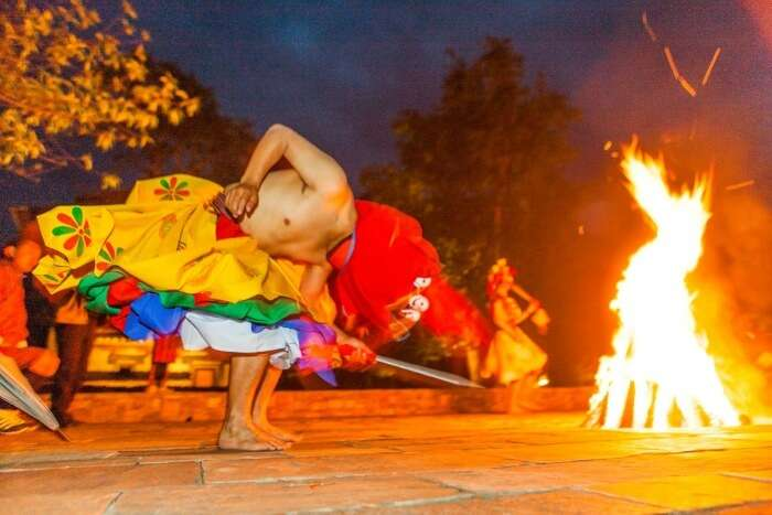 Fire dancing during Jambay Lhakhang Drup festival in Bhutan