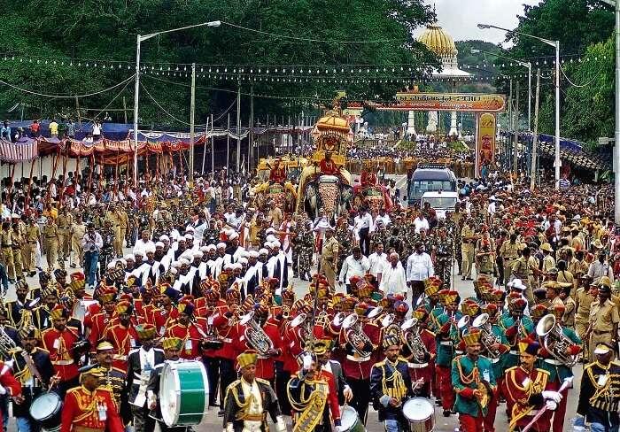 The royal elephant carrying Chamunda Devi during the famous Mysore Dussehra